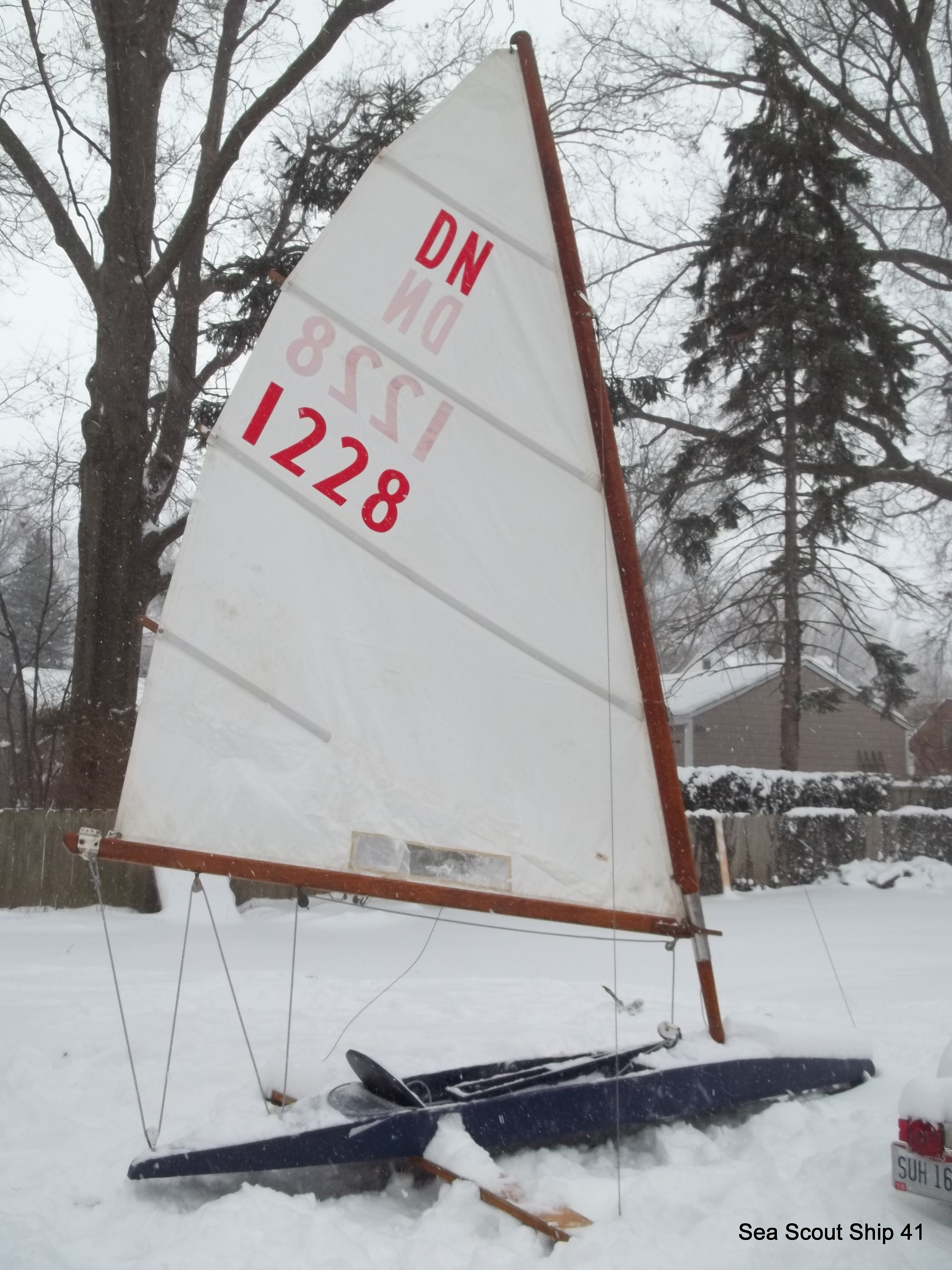 Unfortunately iceboats don't go to well in the snow.