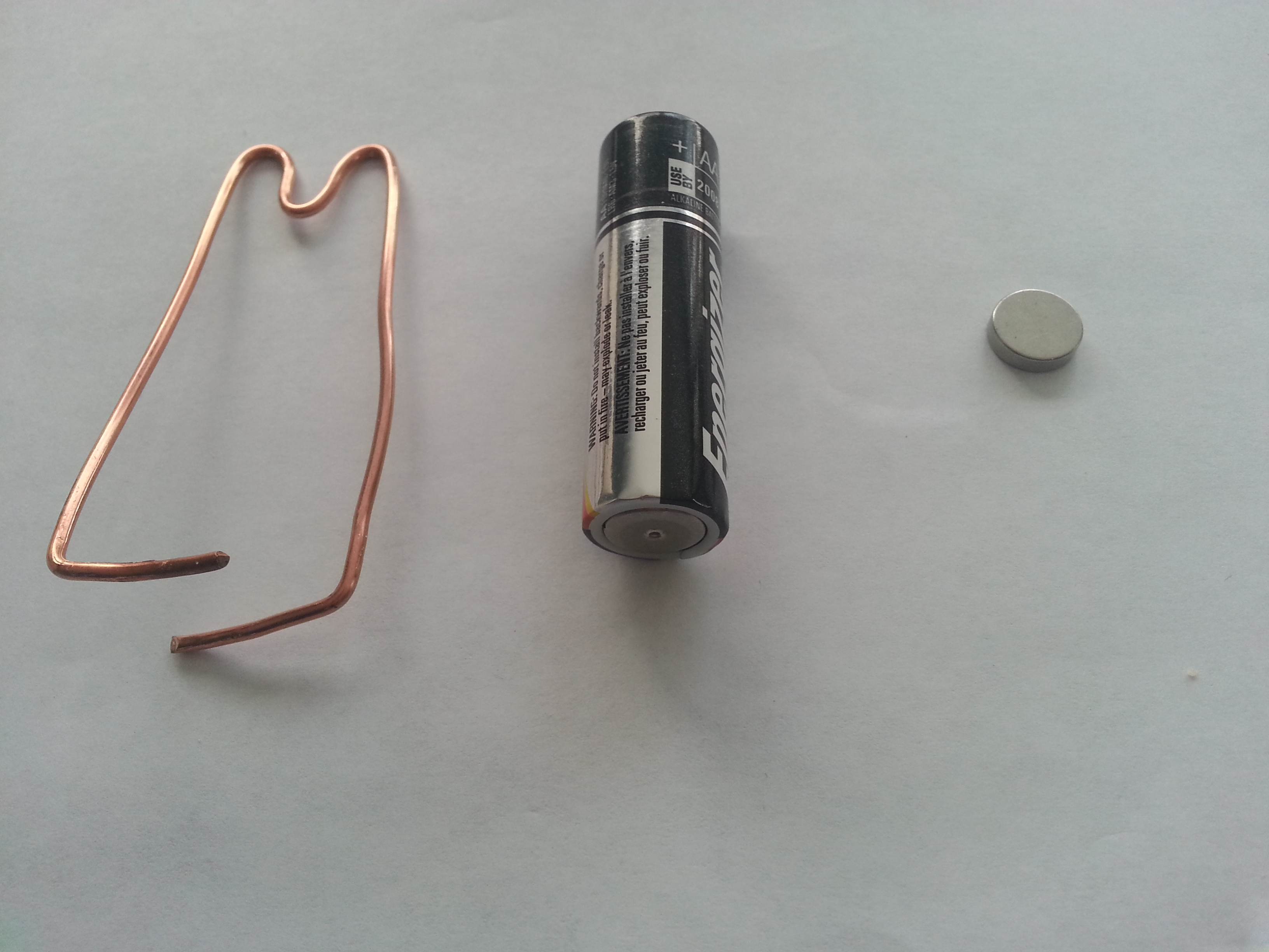 The components for the simplest of electric motors to demonstrate electro-magnetic forces.